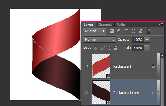 Curled Ribbon Text Effect step 3