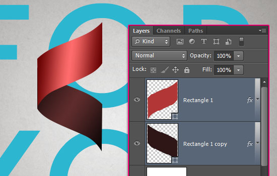 Curled Ribbon Text Effect step 4
