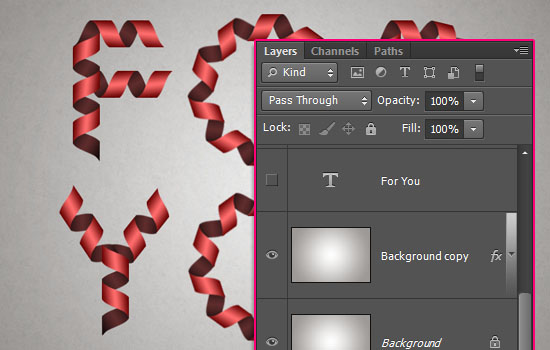 Curled Ribbon Text Effect step 5