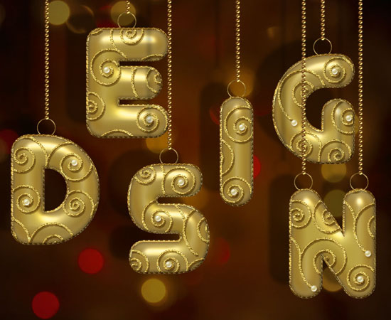 Decorated Gold Metallic Text Effect