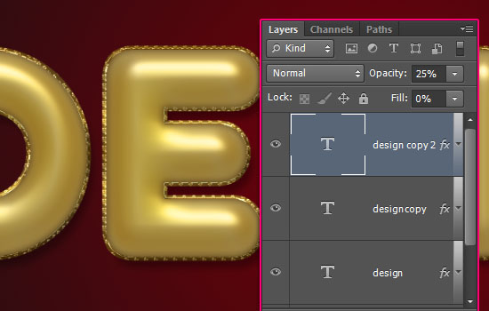 Decorated Gold Metallic Text Effect step 4
