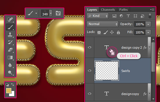 Decorated Gold Metallic Text Effect step 5