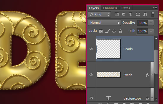 Decorated Gold Metallic Text Effect step 7