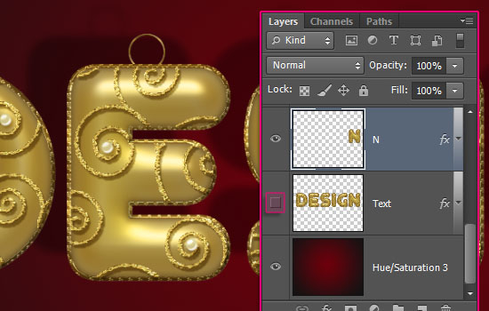 Decorated Gold Metallic Text Effect step 10