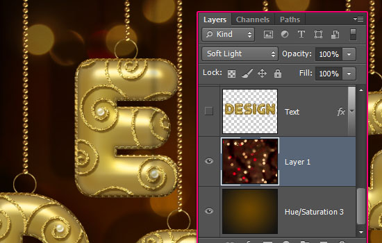 Decorated Gold Metallic Text Effect step 12
