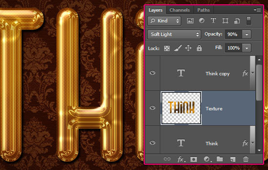 Glossy Gold Text Effect step 5
