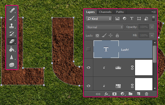 Grass and Dirt Text Effect step 4