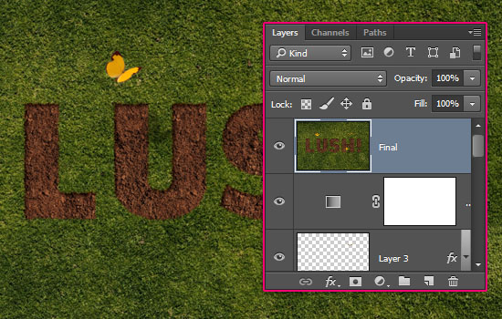 Grass and Dirt Text Effect step 6