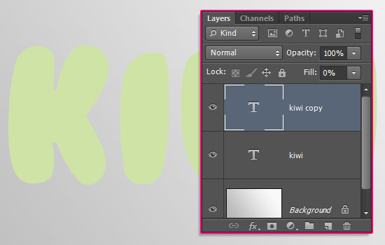 Kiwi Text Effect step 1