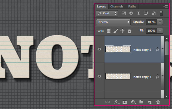 Note Cards Text Effect step 3