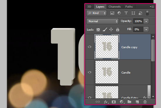 Number Candles Text Effect step 5
