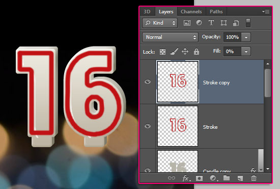 Number Candles Text Effect step 7