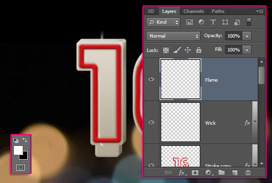 Number Candles Text Effect step 13