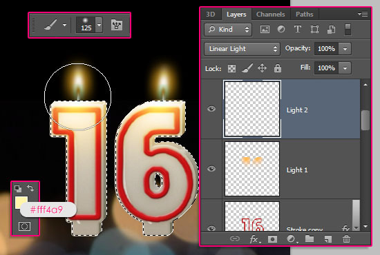 Number Candles Text Effect step 15