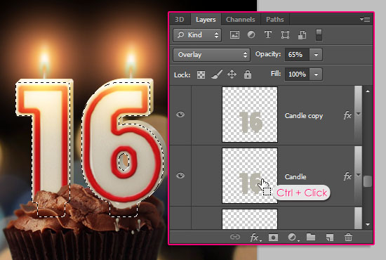 Number Candles Text Effect step 19