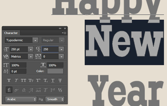 Simple New Year Typographic Poster Text Effect step 2
