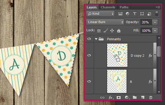 Pennant Banner Text Effect step 8