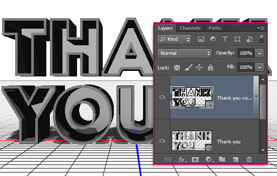 Simple Acrylic 3D Text Effect step 2