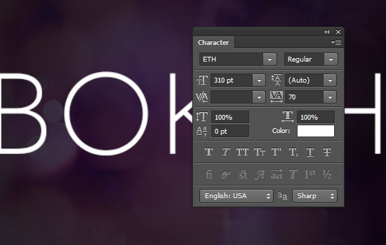 Simple Bokeh Text Effect step 1