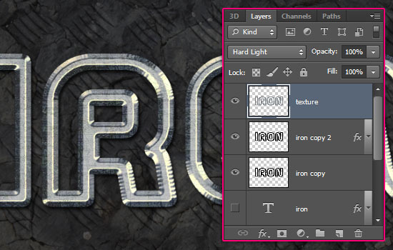 Sparkling Iron Text Effect step 5