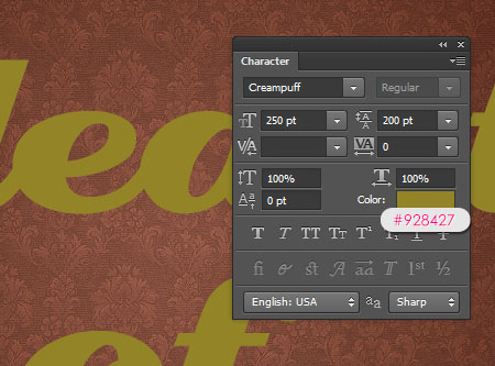 Stylish Gold Text Effect step 2
