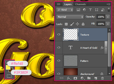 Stylish Gold Text Effect step 3