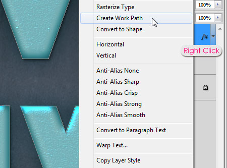 Turquoise Metallic Text Effect step 3