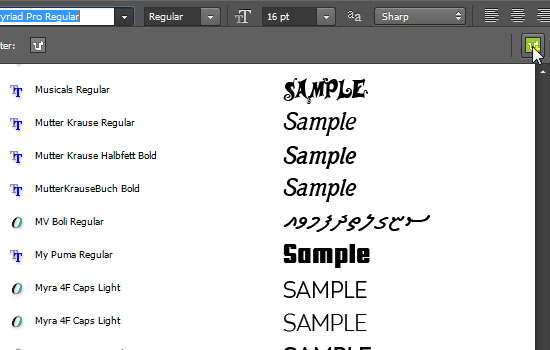 Photoshop CC 2014 Type Tool Features