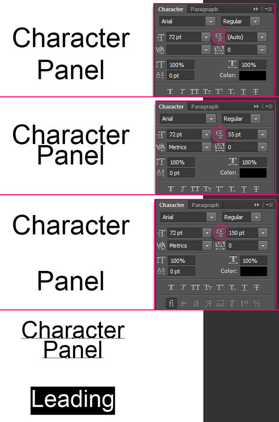 how to change text line spacing in photoshop cs6