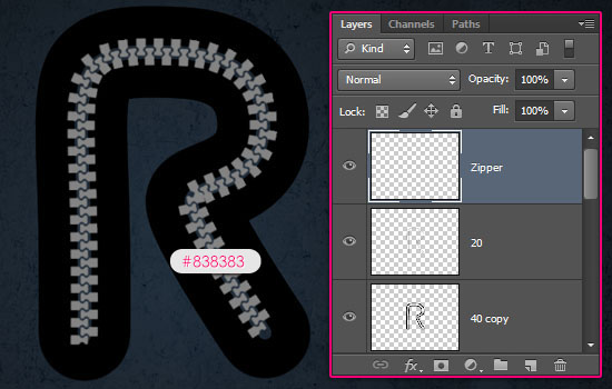 Sporty Zipper Text Effect step 6
