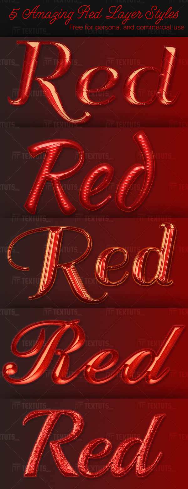 5 Amazing Red Layer Styles - textuts.com - Preview