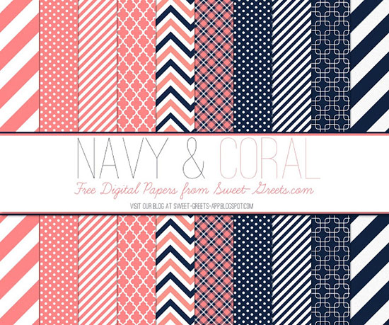 Navy and Coral Digital Papers Package