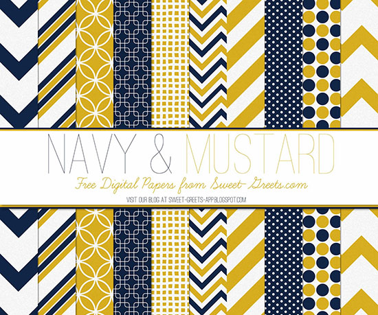 Navy and Mustard Papers Package