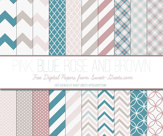 Pink Blue Rose Brown Papers Package