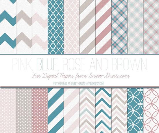 Pink Blue Rose Brown Papers Package