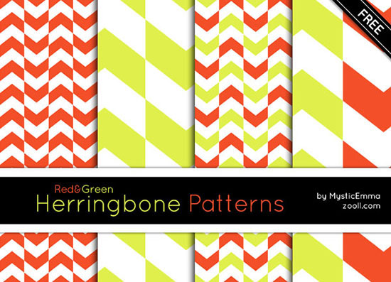 Red and Green Herringbone Patterns Preview