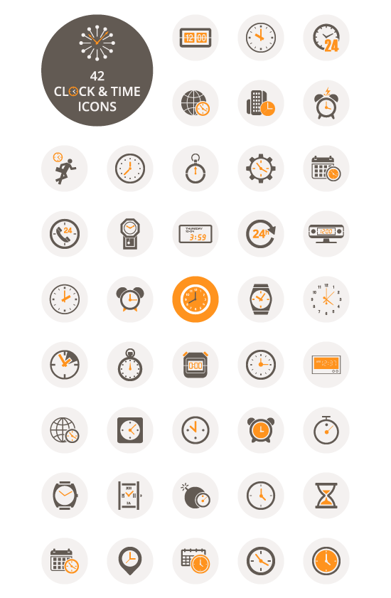 clock-and-time-icon-set