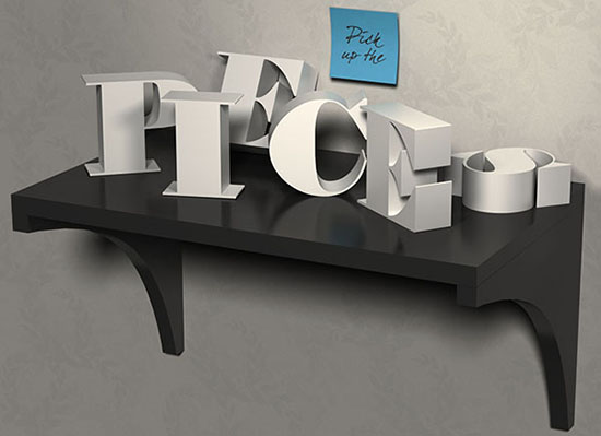 3D Letters on a Shelf Text Effect