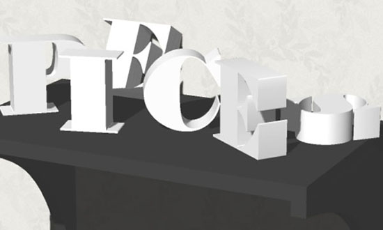 3D Letters on a Shelf Text Effect step 8