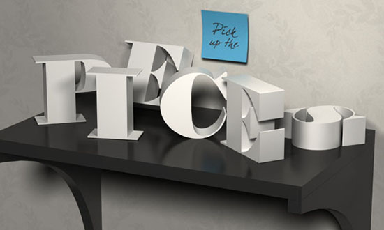 3D Letters on a Shelf Text Effect step 11