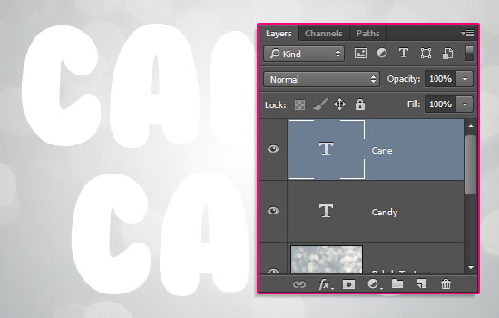 Glossy Candy Cane Text Effect step 2