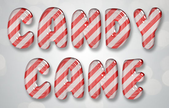 Glossy Candy Cane Text Effect step 3