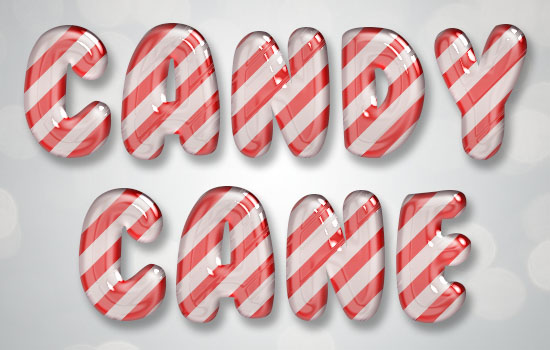 Glossy Candy Cane Text Effect step 4