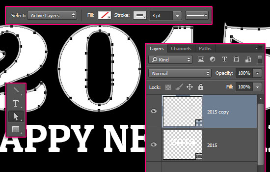 Shiny Reflective 3D Text Effect step 1